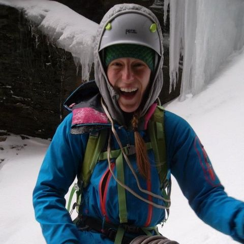 Andrea Charest of Petra Cliffs guiding ice climbing