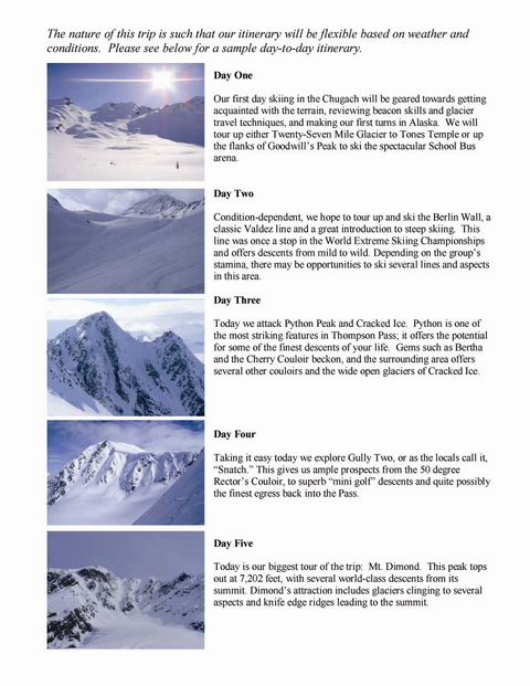 ski mountaineering valdez alaska itinerary sample petra cliffs vermont guide